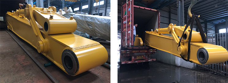 June 24th, 2019: 1 SET of Komatsu PC1250SP-8 20.5M Long Reach Booms loaded into container for shipping to Singapore.